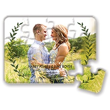 Leaf Crest Modern Save the Date Puzzle