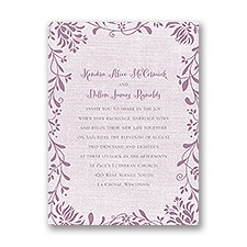 Flowers and Linen Petite Wedding Invitation
