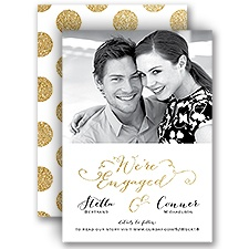 Polka Dot Glam - Faux Glitter - Engagement Announcement