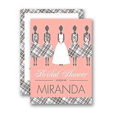 Bridesmaids in Plaid - Petite Bridal Shower Invitation