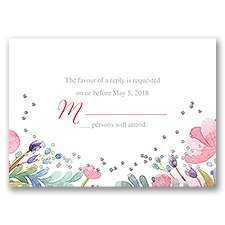 Pastel Floral - Silver - Foil Response Card