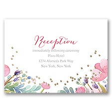 Pastel Floral - Gold - Foil Reception Card
