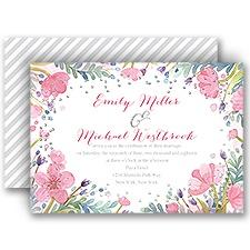 Pastel Floral Silver Foil Wedding Invitation