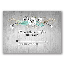 Rustic Floral - Gold - Foil Response Card