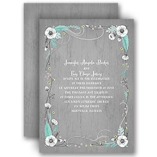 Rustic Floral Silver Foil Wedding Rustic Wedding Invitation
