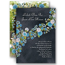 Chalkboard Peonies Celestial Blue Blue Wedding Invitation