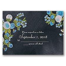 Chalkboard Peonies - Celestial Blue - Response Card