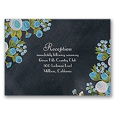 Chalkboard Peonies - Celestial Blue - Reception Card