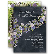 Chalkboard Peonies Lavendar Photo Wedding Invitation