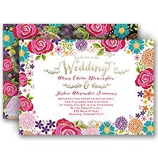 Brilliant Bouquet Gold Foil Wedding Invitation