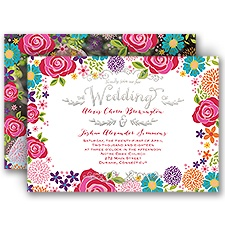 Brilliant Bouquet Silver Foil Photo Wedding Invitation