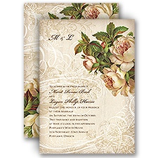 Boho Flowers Vintage Wedding Invitation