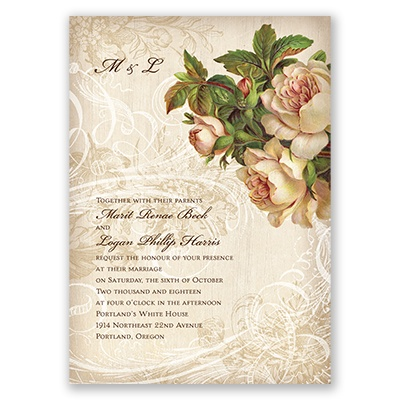 Boho Flowers Wedding Invitations At Invitations By Dawn