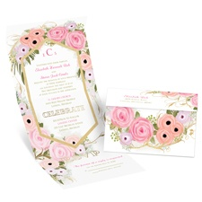 Garden Fresh Gold Foil Seal and Send Pink Wedding Invitation