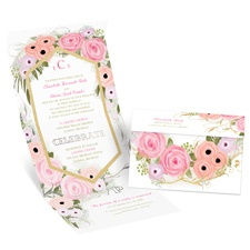 Garden Fresh Silver Foil Seal and Send Wedding Invitation