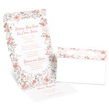 Wildflower Frame Rose Gold Foil Seal and Send Wedding Invitation