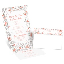 Wildflower Frame Silver Foil Seal and Send Wedding Invitation