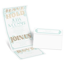 I'm Yours Gold Foil Seal and Send Gold Wedding Invitation