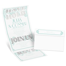 I'm Yours Silver Foil Seal and Send Blue Wedding Invitation