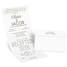 All that Jazz Gold Foil Seal and Send Wedding Invitation