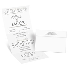 All that Jazz Silver Foil Seal and Send David Tutera Wedding Invitation