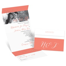 Simply Sophisticated Rose Gold Foil Seal and Send Photo Wedding Invitation
