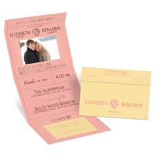 Modern Romance Rose Gold Foil Seal and Send Pink Wedding Invitation