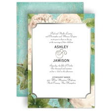 Boho Elegance Silver Foil Wedding Invitation