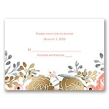 Whimsical Rose - Gold - Foil Response Card