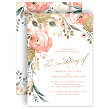 Whimsical Rose Gold Foil Wedding Invitation