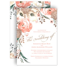 Whimsical Rose Rose Gold Foil Gold Wedding Invitation