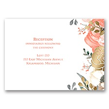 Whimsical Rose - Gold - Foil Reception Card