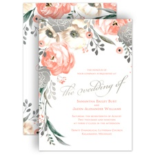 Whimsical Rose Silver Foil Pink Wedding Invitation