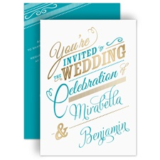 Modern Sparkle Gold Foil Wedding Invitation