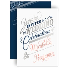 Modern Sparkle Silver Foil Wedding Invitation