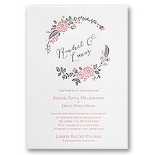 Pretty Perfect Letterpress Pink Wedding Invitation