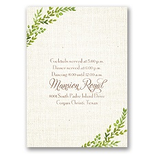 Burlap and Leaves - Reception Card