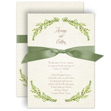 Burlap and Leaves Rustic Wedding Invitation