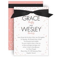 Ribbon and Confetti Pink Wedding Invitation