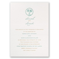 Tropical Chic Letterpress Blue Wedding Invitation