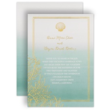 Sea Beauty Aqua Foil Blue Wedding Invitation