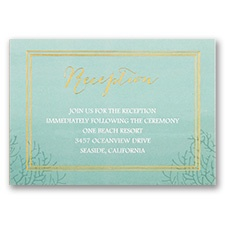 Sea Beauty - Aqua - Foil Reception Card