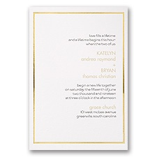 Gold Lining Gold Wedding Invitation