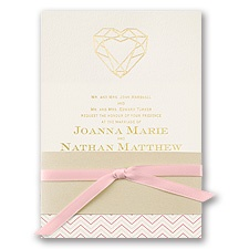 Jewel of My Heart Foil Pink Wedding Invitation