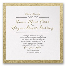 Bold & Gold Letterpress Wedding Invitation