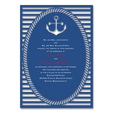 Nautical Style Laser Cut Blue Wedding Invitation