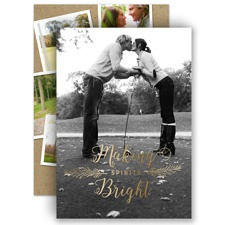 Making Spirits Bright Gold Foil Holiday Card Photo Save the Date