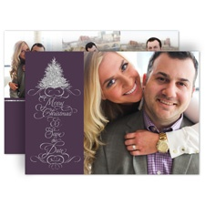 Silver Wishes Faux Glitter Holiday Card Photo Save the Date