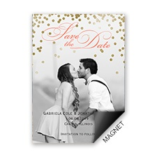 Gold Polka Dots Photo Save the Date Magnet