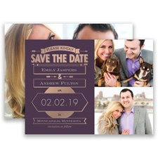 Please Kindly Rose Gold Foil Modern Save the Date